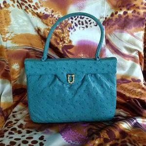 VNTG Comtesse Teal Ostrich Leather Handbag